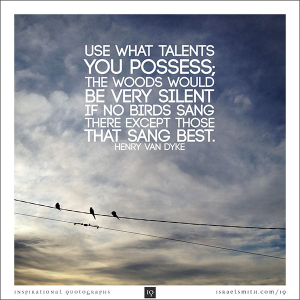 Use what talents you possess