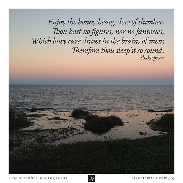 Enjoy the honey-heavy dew of slumber