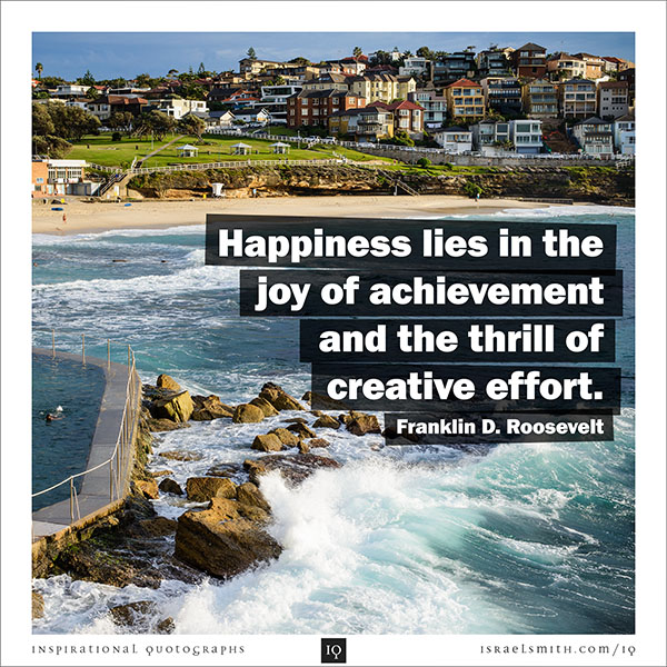 Happiness lies in the joy of achievement
